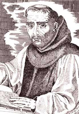 fray José de Sigüenza, en dibujo de Antonio Herrera Casado